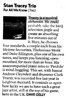 Stan Tracey Trio - For All We Know - Observer Review